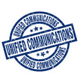 unified communications blue round grunge stamp vector image vector image