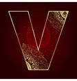 vintage alphabet with floral swirls letter v vector image vector image