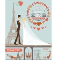 Wedding invitationGroombrideEiffel towerautumn vector image vector image