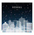 winter night in memphis night city in flat style vector image vector image