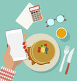 woman business breakfast with phone vector image vector image