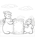 snowmens with sign contours vector image