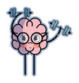 icon adorable kawaii brain doing exercise