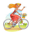 beautiful girl rides a bicycle and waving vector image