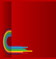 red background with rainbow vector image