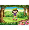 A fashionable young girl at the forest vector image vector image