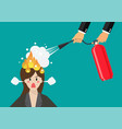 angry business woman with head on fire gets help vector image vector image