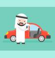 arab businessman or salesman open cars door for vector image vector image