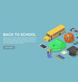 back to school day concept background isometric vector image