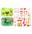 bbq party set people cooking vector image vector image