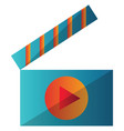blue and orange video player icon on a white vector image vector image