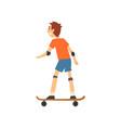 boy skateboarding in park kids physical vector image vector image