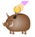 brown piggy bank vector image vector image