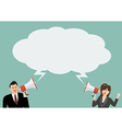 businessman and woman holding a megaphone vector image vector image