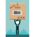 Businessman holding a package vector image