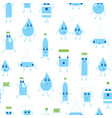 cartoon water funny emotions bottle seamless vector image vector image