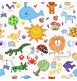Childrens drawing doodle animals trees and sun vector image vector image
