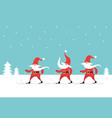 christmas card with cute gnomes ski vector image vector image