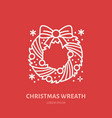 christmas wreath new year decoration flat line vector image