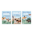 collection colorful posters for horse riding vector image