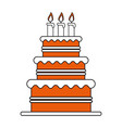 color silhouette image cake with cream and candles vector image vector image