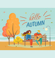couple sitting on bench in fall park hello autumn vector image