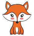 cute fox on white background vector image vector image