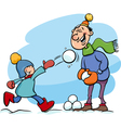 dad and son on winter cartoon vector image vector image