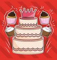 desserts cartoons cut lines vector image