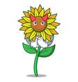 devil sunflower mascot cartoon style vector image