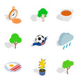english stereotype icons set isometric style vector image vector image