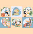 flat book composition icon set vector image vector image