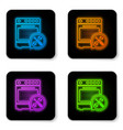 glowing neon oven with screwdriver and wrench vector image vector image