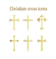 Golden cross icons set vector image