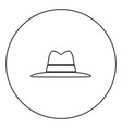 hat black icon in circle outline vector image vector image