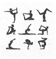 icons of woman silhouettes in yoga poses vector image vector image
