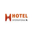 international hotel creative emblem vector image vector image