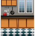 Kitchen with wooden cabinet vector image