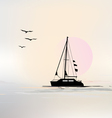 landscape with sailing boat vector image vector image
