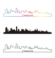 liverpool skyline linear style with rainbow vector image vector image
