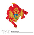 Map of Montenegro with flag vector image vector image