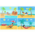 men and women freelance on beach in summer set vector image vector image