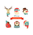 merry christmas icons retro style elements and vector image