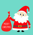 merry christmas santa claus holding carrying sack vector image