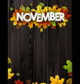 november background with colorful leaves vector image vector image