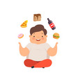 overweight boy sitting on the floor and juggling vector image vector image
