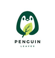penguin leaf logo icon vector image