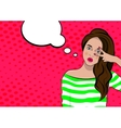 Pop art cute woman with bubble sign vector image vector image