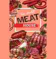 poster for meat house butchery sketch vector image vector image