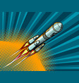 rocket in space comic book style vector image vector image